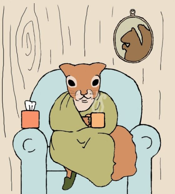 squirrel art print: sick day  by Jill Bogart