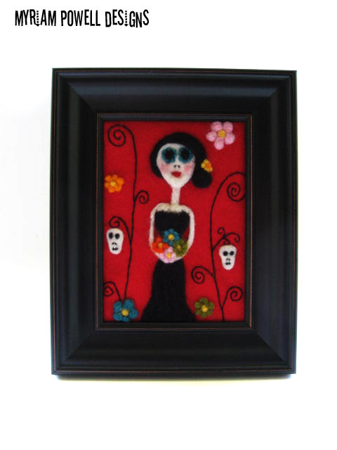 Day of the Dead Art - Needle Felted - Dia de los Muertos - Made to Order