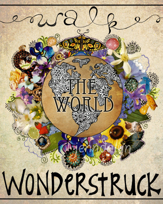 earth poster wanderlust art travel print earth globe world Wonderstruck 11 x 14 PRINT mixed media art collage rainbow bright colorful