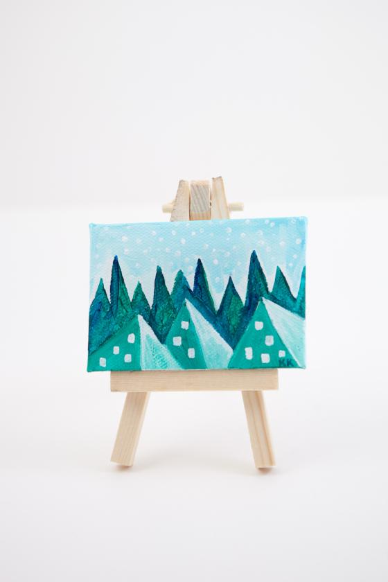 Winter Woodland Pyramid Fantasy Land Green Teal Blue Joyful Miniature Painting Mini Canvas - Original Painting by Kimberly Kling