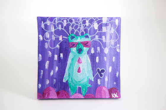 Miniature Painting, Colorful Bear Totem, Whimsical Small Art, Children's Animal Character - Original Mini Painting by Kimberly Kling
