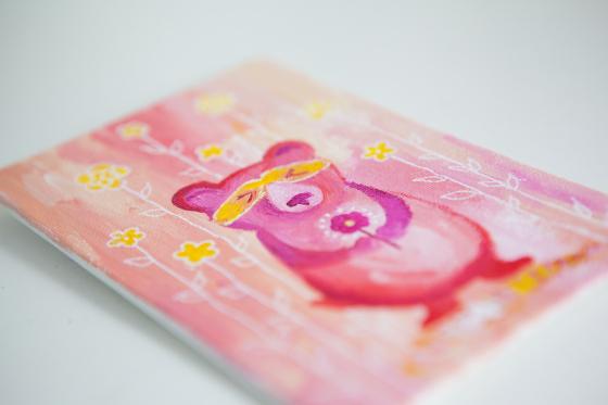 Pink Bear Totem, Miniature Painting, Whimsical Small Art, Children's Animal Character, Girl - Original Mini Painting by Kimberly Kling