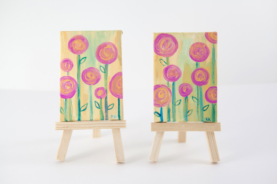 Miniature Painting of Pink Flowers, Pastel Yellow, Botanical, Colorful, Whimsical, Hand-Painted - Original Mini Painting by Kimberly Kling