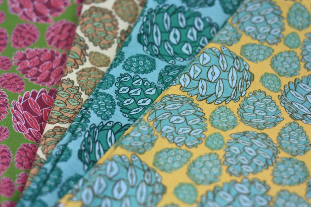 Retro Pinecones Fabric Collection