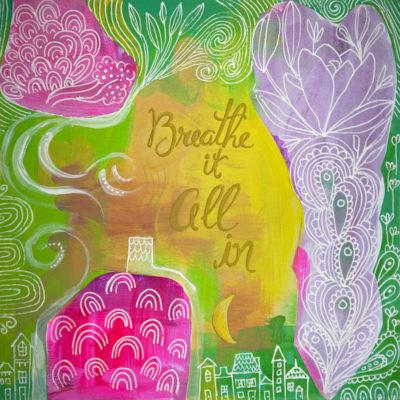 Breathe It All In Calming Meditation Yoga Art Print Wall Decor