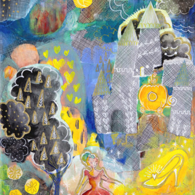 Imagining A Fairytale Mixed Media Cinderella Painting Giclee Print