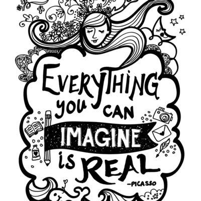 Everything You Can iMagine Is Real Letterpress Print, Art Print, Wall Decor. Modern, Black and White, Joyful Art