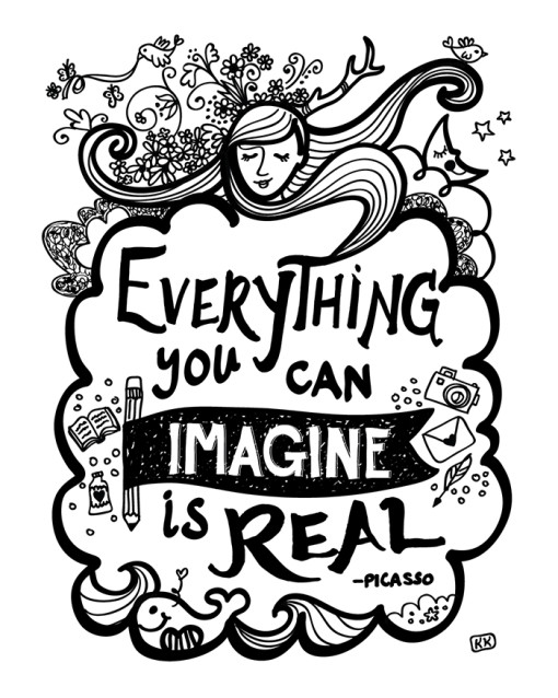 Everything You Can iMagine Is Real Letterpress Print, Art Print, Wall Decor. Modern, Black and White, Joyful Art