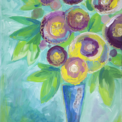 Gold and Plum Mixed Media Floral Painting by Kimberly Kling