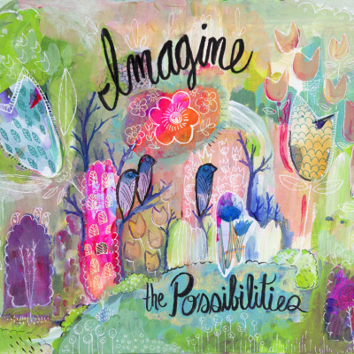 Imagine The Possibilities Giclee Print, Botanical Colorful Art, Inspirational Art, Hot Pink Fine Art, Nature Art, Joyful Art