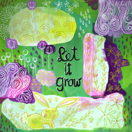 Let It Grow Original Art Giclee Print Colorful Child Room Nursery Decor