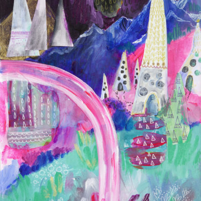 Mystic Mountain Fairytale Print, Mixed Media Landscape, Giclee Print, Colorful Home Decor, Modern, Boho Artwork, Hipster, Kimberly Kling