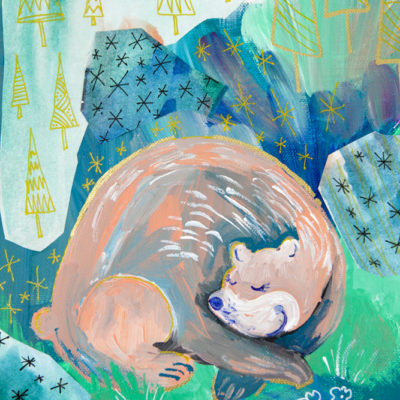 Oh Sleeping Bear Woodland Giclee Print Child Nursery Art, Girls Room Art, Whimsical Bear Illustration Painting by Joyful Roots and Kimberly Kling