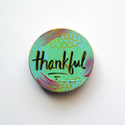 Thankful Hand Painted Wooden Art Magnet