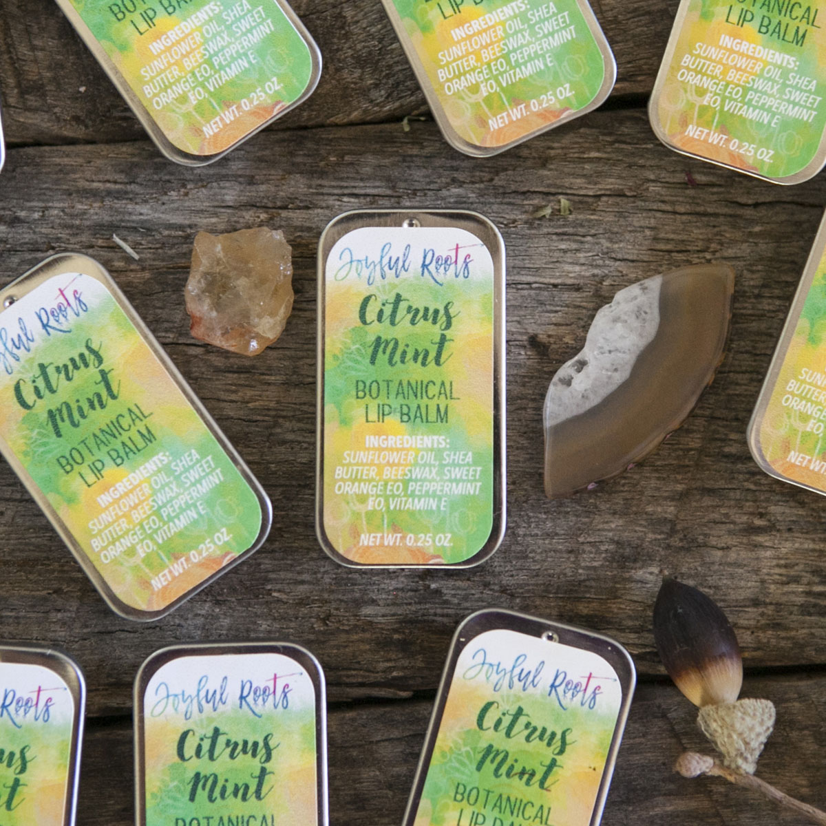 Joyful Roots Free Botanical Lip Balm Citrus Mint Herbal Skincare and Wellness